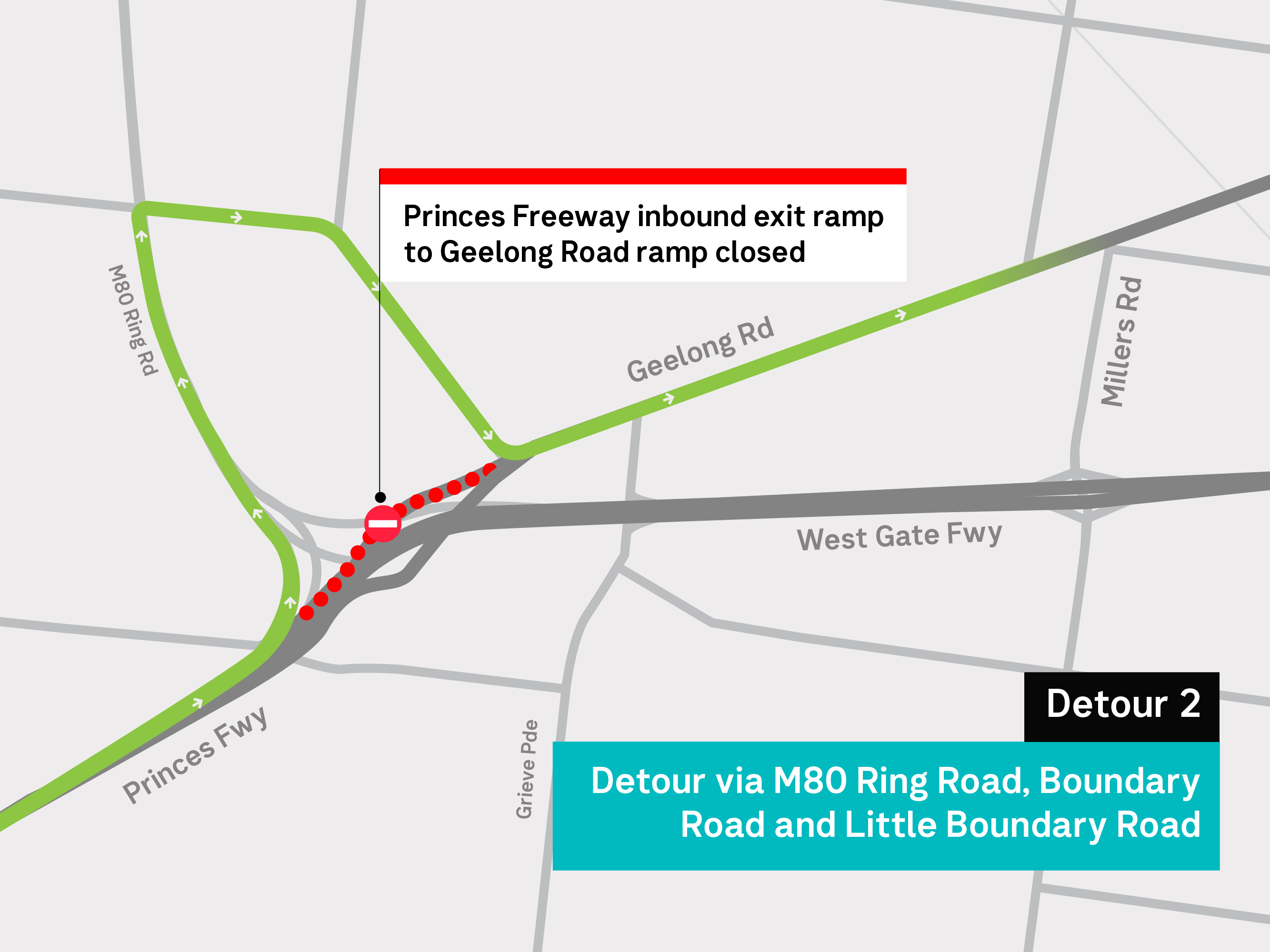Spring construction works detour map for Princes Freeway to Geelong Road ramp closure. Suggested detour route via M80 Ring Road, Boundary Road and Little Boundary Roads. For more information, please refer to the web text.