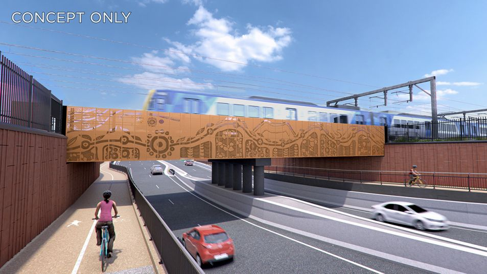 Artists impression of the level crossing at Gap Road, with rail bridge over road with cars