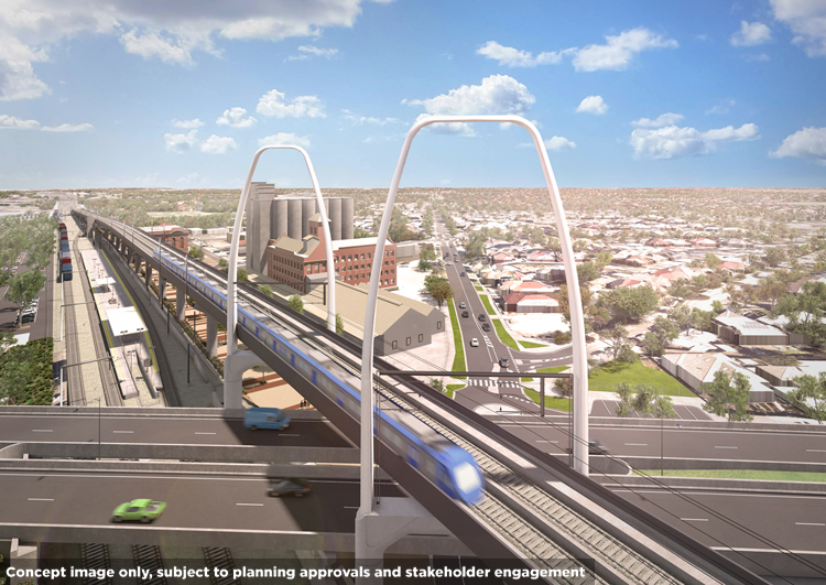 Concept image of the Albion flyover and Albion Station, Albion