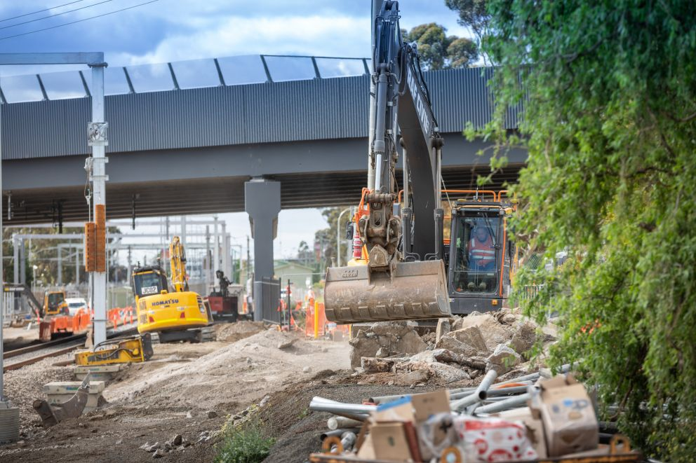 Works on the rail line near Watergardens Station