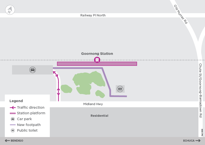 Goornong Station concept map, showing the location and features described in the text above.