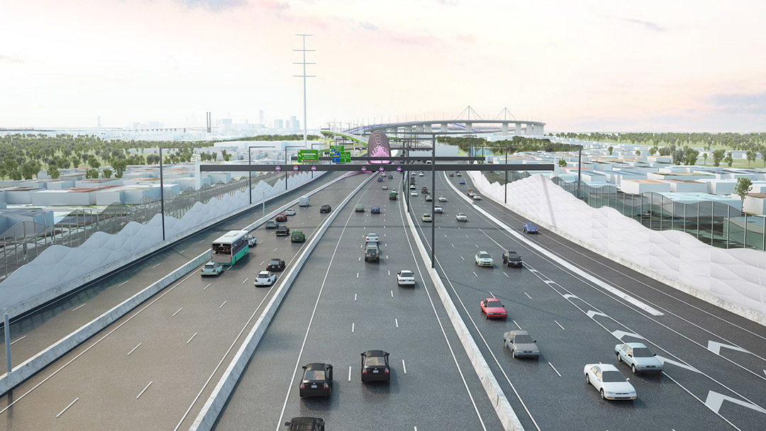 An artist's impression of the widened West Gate Freeway.