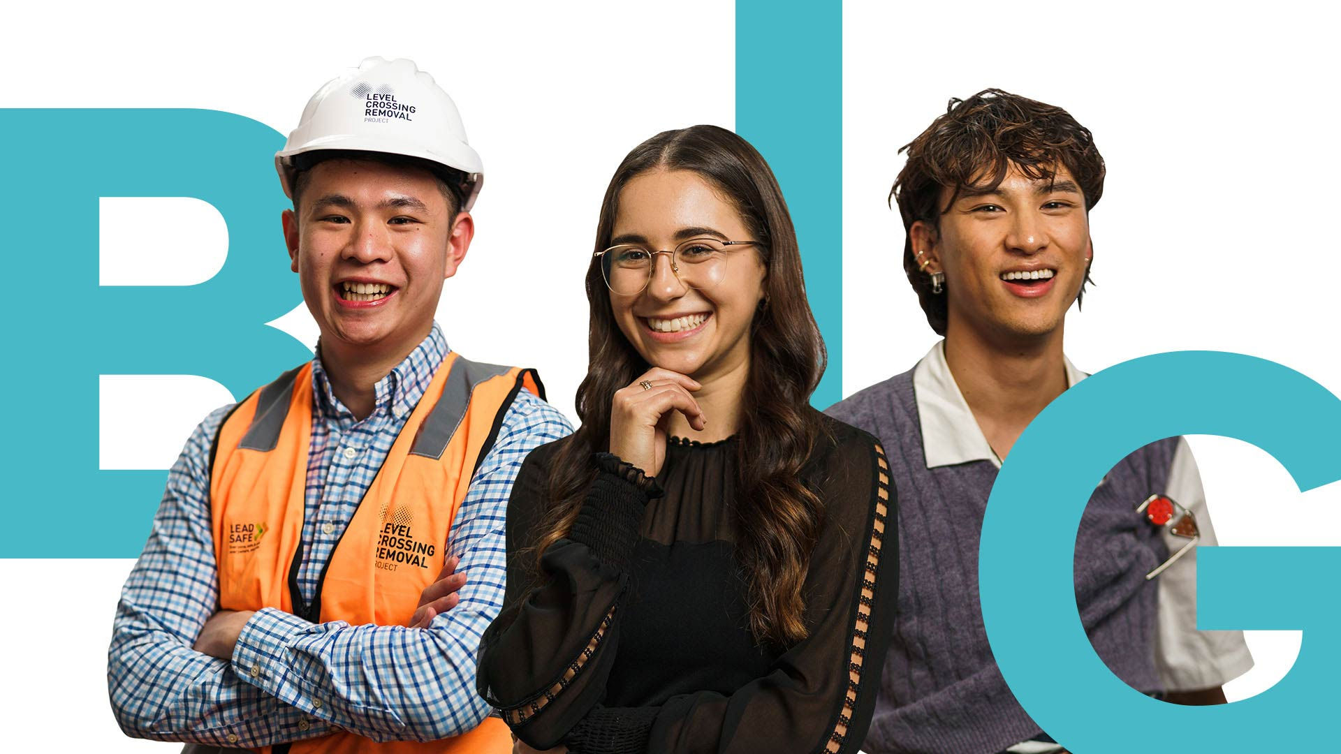 One female and two male participants in the Victoria's Big Build Graduate Programs.
