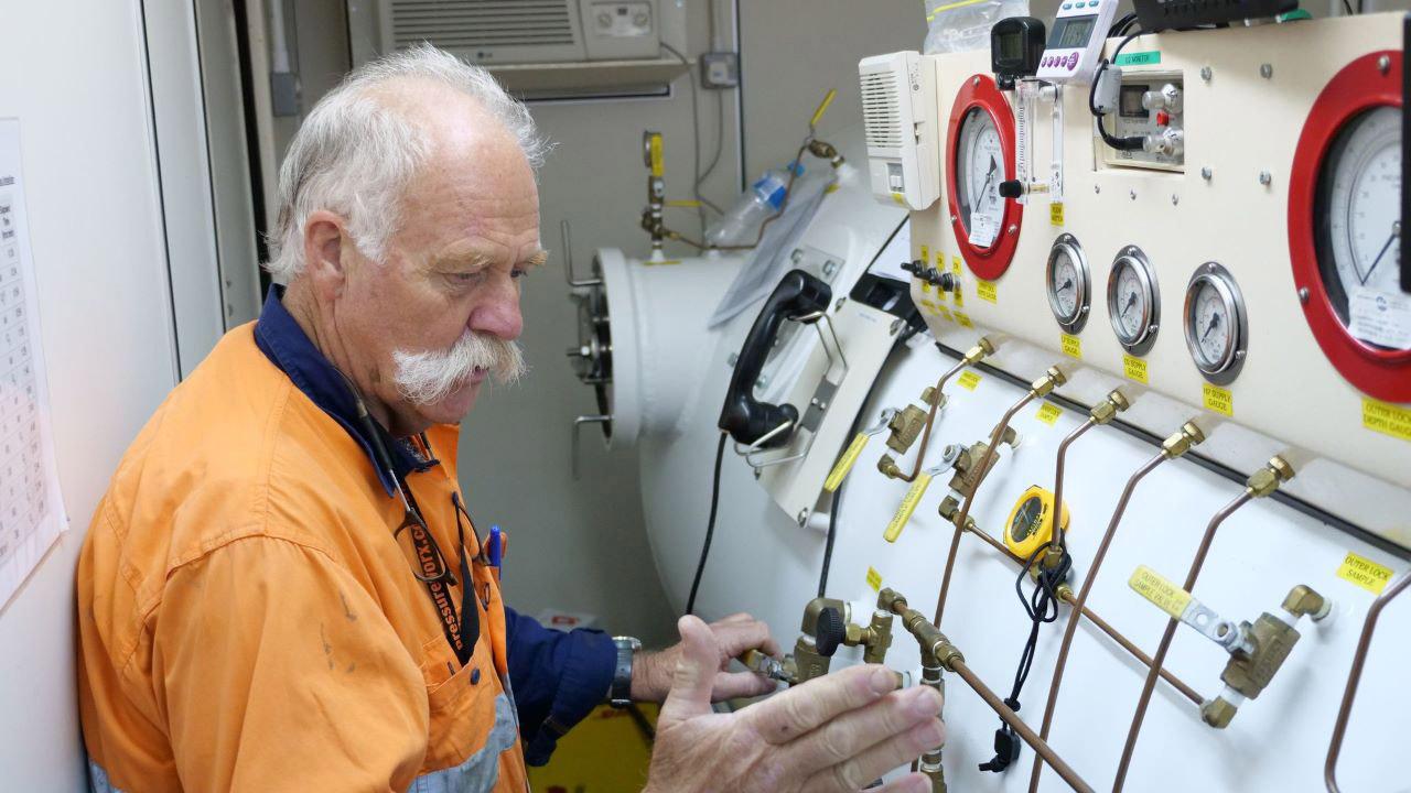 Man inside hyperbaric chamber