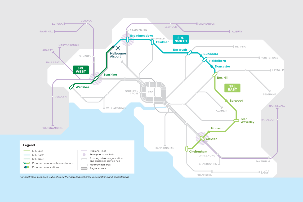 Suburban Rail Loop map. Rail line has three sections - SRL East, SRL North and SRL West.